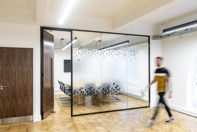 Thin glass partitioning